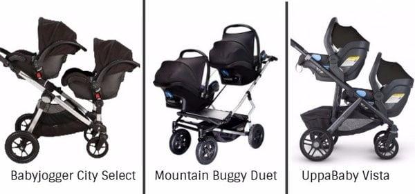 Syskonvagnar med två babyskydd